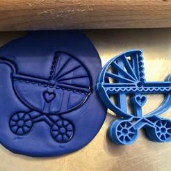 KOČÁREK .jpg Download STL file Cookie cutter - Pram • 3D printer design, Tvoritko