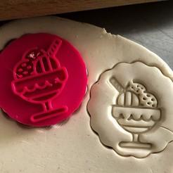 Descargar archivos 3D Sello de galleta + cortador - Helado, Tvoritko
