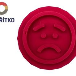 smutný emoji.jpg Télécharger fichier STL Timbre à biscuit + cutter - Emoji 6 • Modèle imprimable en 3D, Tvoritko
