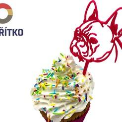 stick fr 1.jpg Download STL file Cupcake Topper -  French Bulldog • 3D print template, Tvoritko