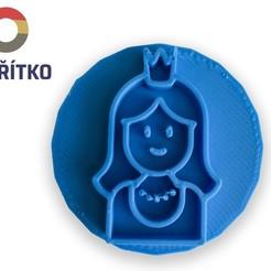 Download 3D printer designs Cookie stamp + cutter -  Princess, Tvoritko