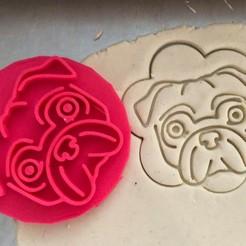 mops II 1.jpg Download STL file Cookie stamp + cutter -  Pug dog 2 • 3D printing model, Tvoritko