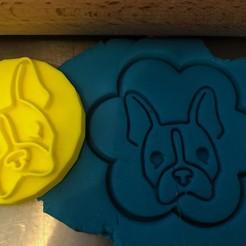 Télécharger plan imprimante 3D Timbre à biscuit + cutter - Boston Terrier 2, Tvoritko