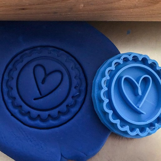 Download STL file Cookie stamp + cutter -  Heart I • Object to 3D print, Tvoritko
