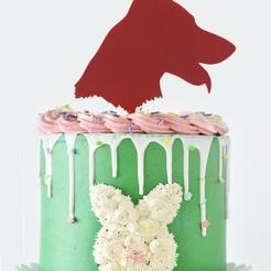 vlčák dort zápich 2.jpg Télécharger fichier STL Garniture de gâteau - Berger allemand II • Plan pour imprimante 3D, Tvoritko