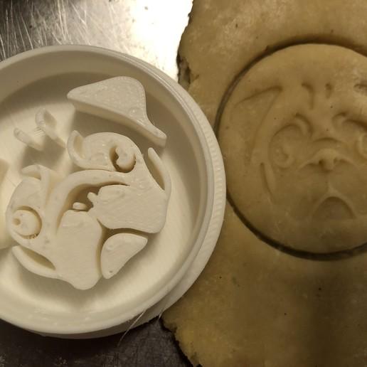 Download 3D printer model Cookie stamp with cookie cutter - Mops dog , Sludlak