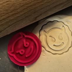čertík2.jpg Télécharger fichier STL Timbre à biscuit + cutter - Emoji devil • Modèle pour impression 3D, Tvoritko