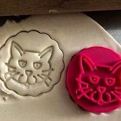 Download 3D printing models Cookie stamp + cutter -  Cat, Tvoritko