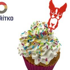zápich 1.jpg Download STL file Cupcake Topper -  Boston Terrier 2 • 3D printable model, Tvoritko