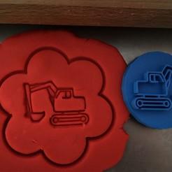 e.jpg Download STL file Cookie stamp + cutter -  Excavator, digger • 3D printing object, Tvoritko