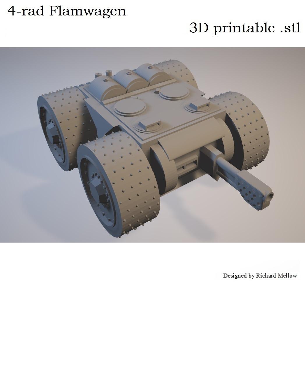 Title.jpg Télécharger fichier STL gratuit Vehcile de jeu de science-fiction Flamwagen à 4 rayons • Objet imprimable en 3D, redstarkits