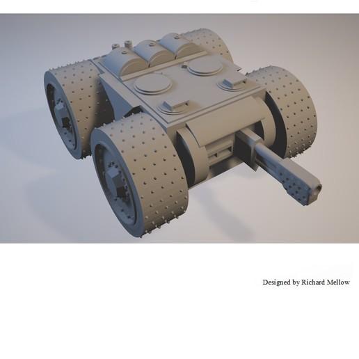 Télécharger STL gratuit Vehcile de jeu de science-fiction Flamwagen à 4 rayons, redstarkits