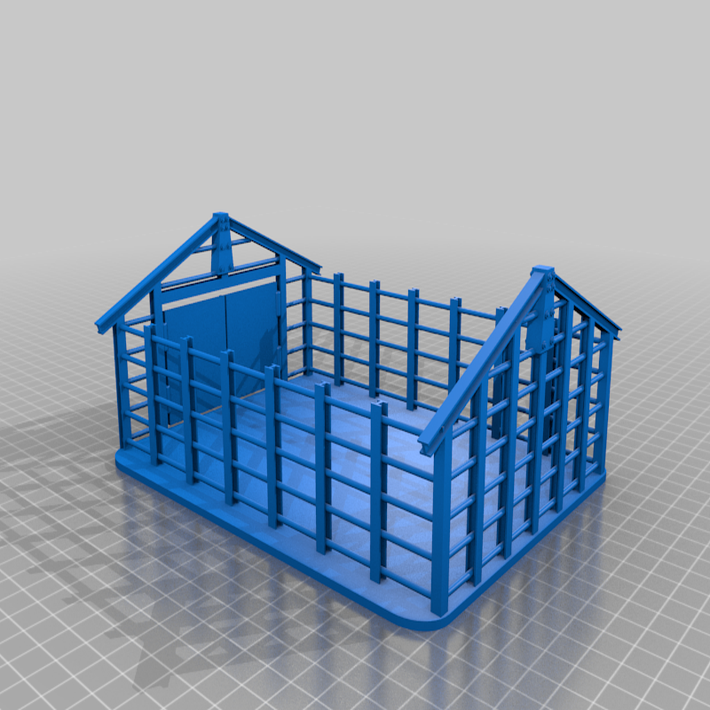 Partial_storehouse_with_door.png Download free STL file Partly constructed storage building for 28mm Sci-fi and modern era  wargamming • Design to 3D print, redstarkits