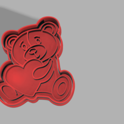 Oso.png Download STL file Cookie Cutting Heart Bear • 3D print template, pc3dtepic