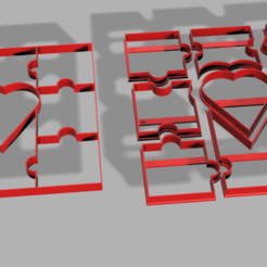 Descargar STL Puzzle Valentine's Day Cookie Cutter, pc3dtepic