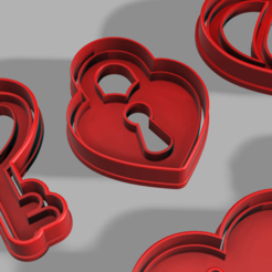 keyheart.png Download STL file Cookie Cutter Set: Key and Padlock • 3D printing object, pc3dtepic