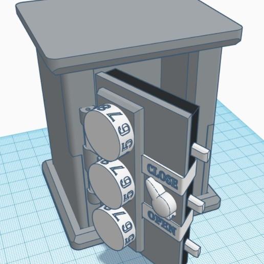 Download STL file Mechanical safe with coded lock. USB/SD-card holder, postsitnikov