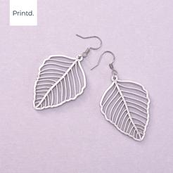 Download STL files Leaf Earrings, ravingDIODE