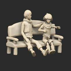 BrothersBench.jpg Download free STL file Brothers on Bench: A Tale of Two Sons • 3D print design, CharlieVet