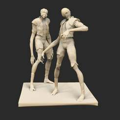 Pose26LeapersMourning.jpg Download free STL file Cyberpunk Leapers x6 • 3D printer model, CharlieVet