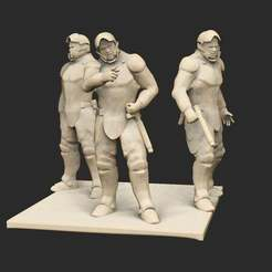 Pose17EnforcerSquad.jpg Download free STL file Cyberpunk Enforcers x5 • Object to 3D print, CharlieVet