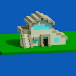 1.png Télécharger fichier STL Maison voxel - 2 • Design pour impression 3D, rockimit