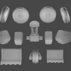 All.png Download STL file Bionic Legs Pack 2 (Tracks/Tyres) • 3D printer template, TexMakes