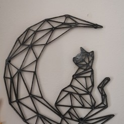 Download free STL file Cat on Moon wall art, Awesome3D