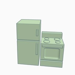 Doll House Fridge and Stove set.jpg Download STL file Doll House Fridge and Stove set • 3D printing template, Simple_Designs