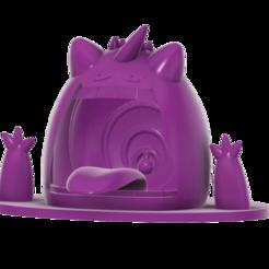 Gigantamax_Gengar_swamp_SLA_v5.png Download free STL file Gigantamax Gengar in a Swamp (Pokemon) キョダイマックス ゲンガー • 3D print object, Jangie