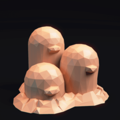 Thumbnail.png Download free OBJ file Pokemon LowPoly Dugtrio • 3D printable template, MarProZ_3D