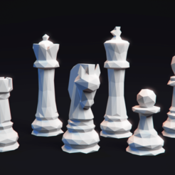 Download free 3D model Chess Set LowPoly , MarProZ_3D
