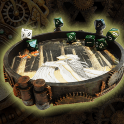 Download free 3D printing designs Steampunk Dice Tray, Le_Boxon