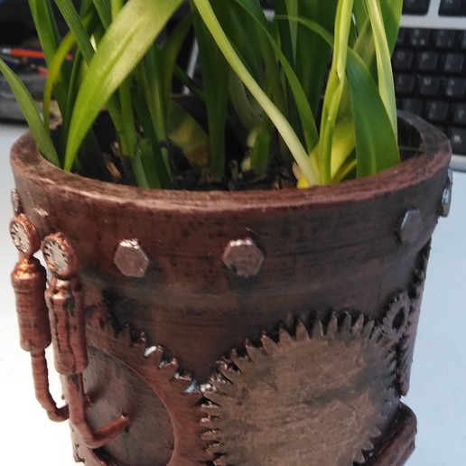 Download free OBJ file Steampunk Flowerpot • 3D printer design, Le_Boxon