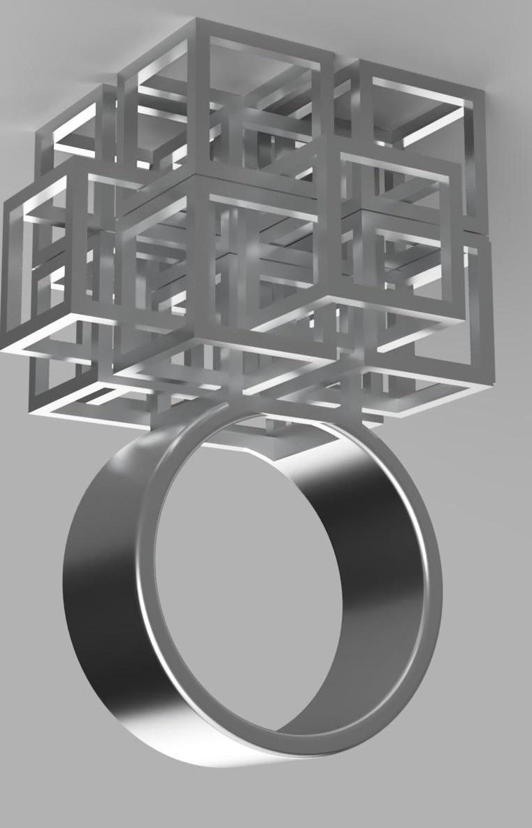 ring 2.jpg Download free STL file Falling Geometric Ring  • Model to 3D print, RavenSfx