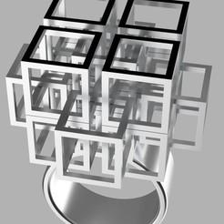 ring 1.jpg Download free STL file Falling Geometric Ring  • Model to 3D print, RavenSfx
