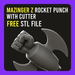 Descargar archivos STL gratis ▷ Mazinger Z Rocket Punch with Cutter 【 KEYCHAIN 】, gersith
