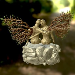 screenshot004.jpg Download STL file Seated Couple - Broken Wings • 3D printer object, Nayibe
