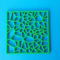 Tinkercad_Drinks_Coaster_-_Square_Voroni.jpg Download free STL file Drinks Coaster - Square Voronoi • 3D printer design, printerthinker