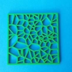 Download free 3D printer model Drinks Coaster - Square Voronoi, printerthinker