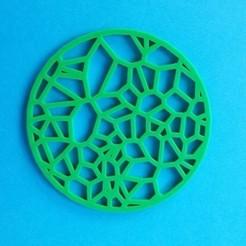 Impresiones 3D gratis Posavasos para bebidas - Circular Voronoi, printerthinker