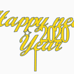 Download free 3D print files Happy New Year sign with stick, Centro3D