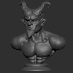 Screen Shot 2020-07-05 at 00.20.53.png Télécharger fichier STL Sculpture du buste du diable/démon • Design imprimable en 3D, colinp_hughes