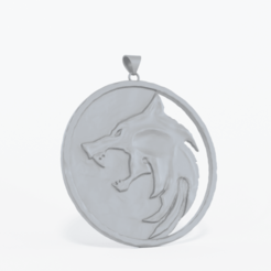 Download 3D printer files The Witcher Wolf Pendant Medallion, TheSky