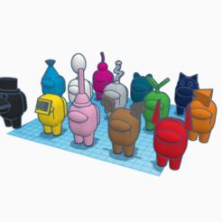 All Among Us Crewmates (1).png Download STL file 12 + 1 BONUS BAT HAT  Among Us Crewmates!!! • 3D printing model, bluenichols