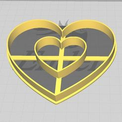 Download 3D printing designs Mom Heart inside Heart Cookie/Fondant Cutter, 3DSweetBakery
