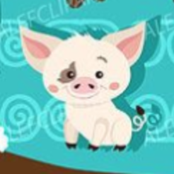 Pua3.PNG Download STL file Moana Pig Pua Cookie and Fondant Cutter with Embosser • 3D print model, 3DSweetBakery