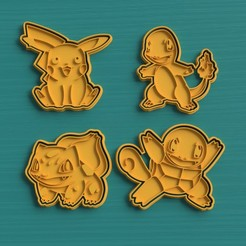 cutter cookie pokemon.jpg Download STL file SET 4 POKEMON COOKIE CUTTERS • Design to 3D print, VeryCutterCookie
