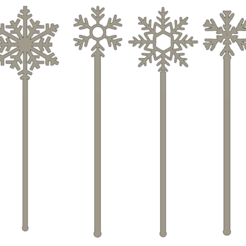 touillette flocon1 v1.png Download STL file Snowflake stirrers / stirrers x4 • 3D printable template, dodey_57