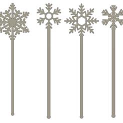 touillette flocon1 v1.png Télécharger fichier STL Agitateurs / touillettes flocon de neige x4 • Design pour impression 3D, dodey_57